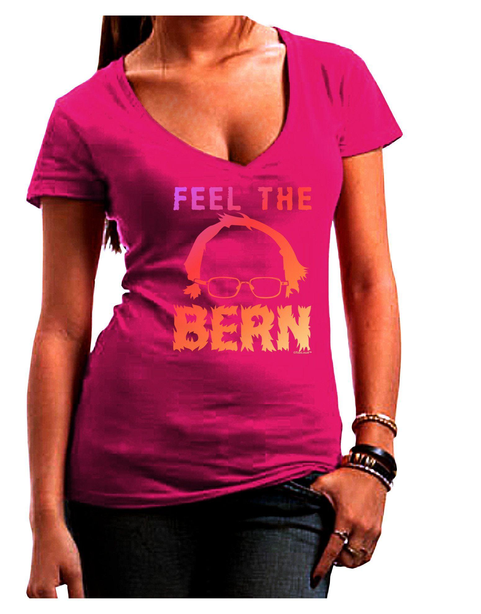 TooLoud Feel the Bern Juniors Petite V-Neck Dark T-Shirt