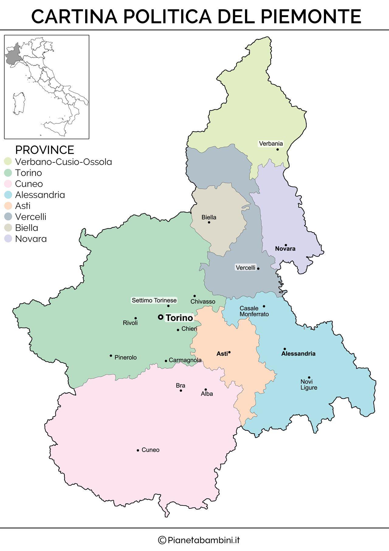Cartina Fisica E Politica Del Piemonte.Cartina Muta Fisica E Politica Del Piemonte Da Stampare
