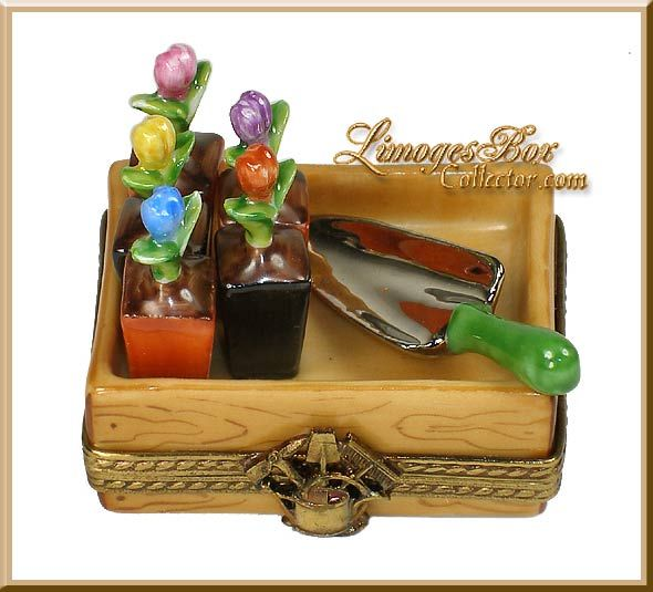 Flower Crate with Tulip Plants Limoges Box