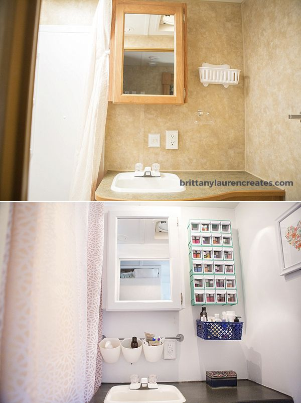 Before And After Camper Bathroom Makeover Travel Trailer Remodel - Travel trailer bathroom remodel