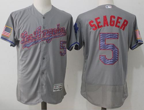 77568f72199 Dodgers  5 Corey Seager Grey Fashion Stars   Stripes Flexbase Authentic  Stitched MLB Jersey
