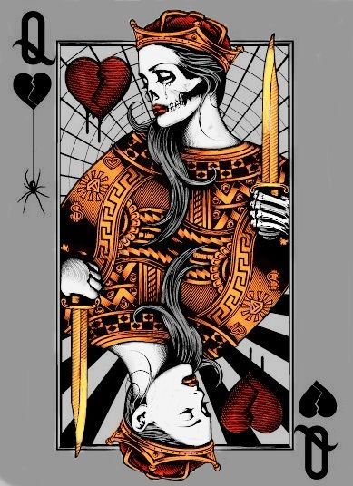 4d838b5e2 play card queen Playing Card Tattoos, Playing Cards Art, Playing Card Design,  Hearts
