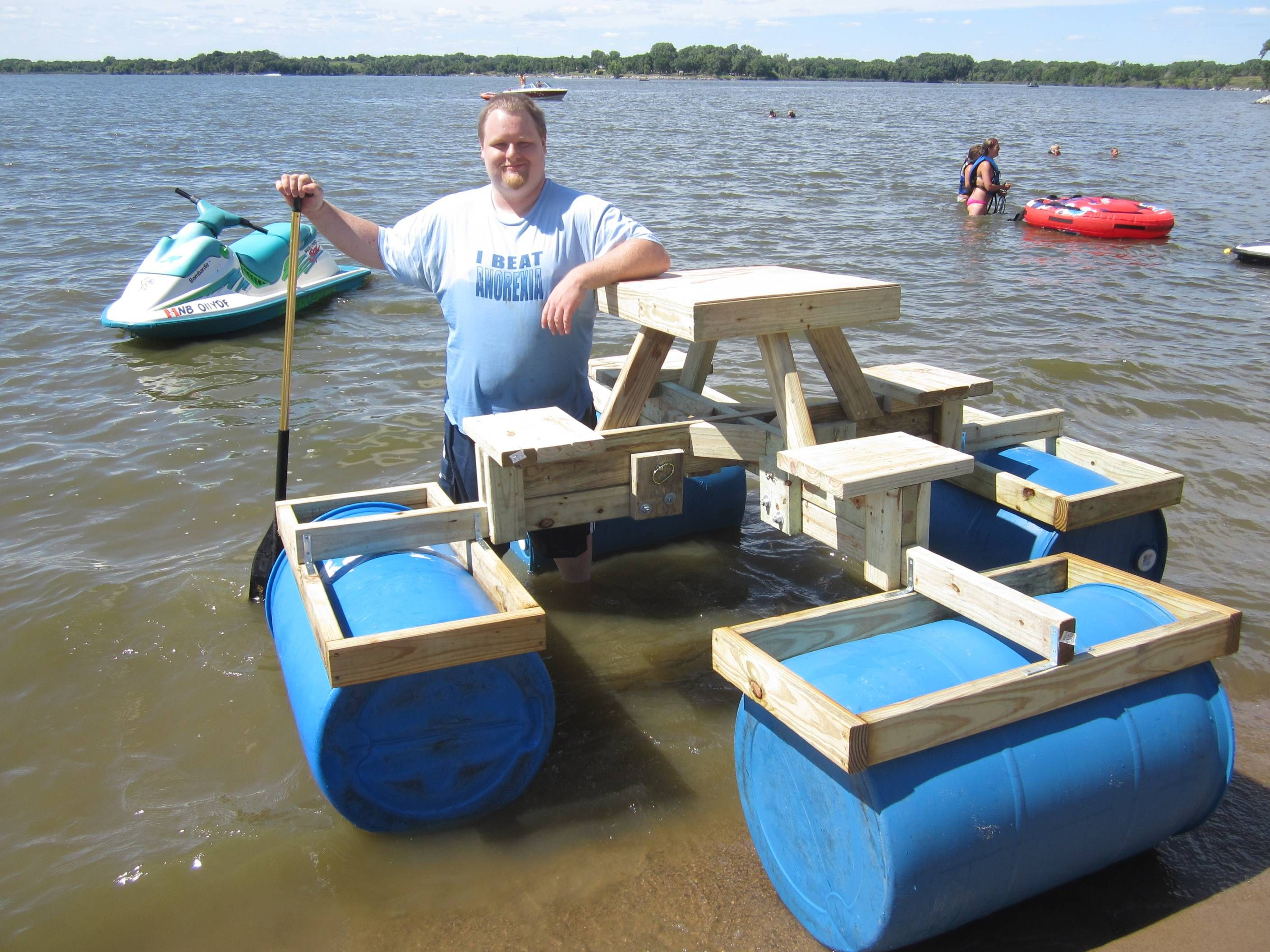 Floating picnic table project picnic tables picnics and for Picnic boat plans