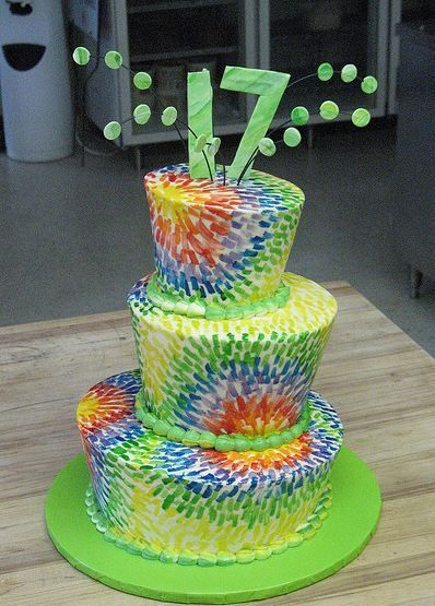 Stupendous Three Tier Topsy Turvy Colorful 17Th Birthday Cake Rhea Walsh Funny Birthday Cards Online Fluifree Goldxyz