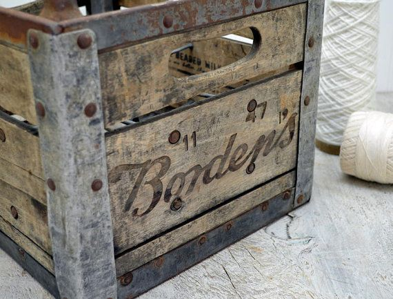 Bordens Wooden Milk Crate 1940 S Wood Dairy By Oldtimepickers On Etsy Milk Crates Crates Wood Crates