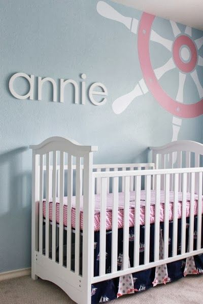 Nautical Nursery Girl Nursery But Swap The Colors And Awesome For