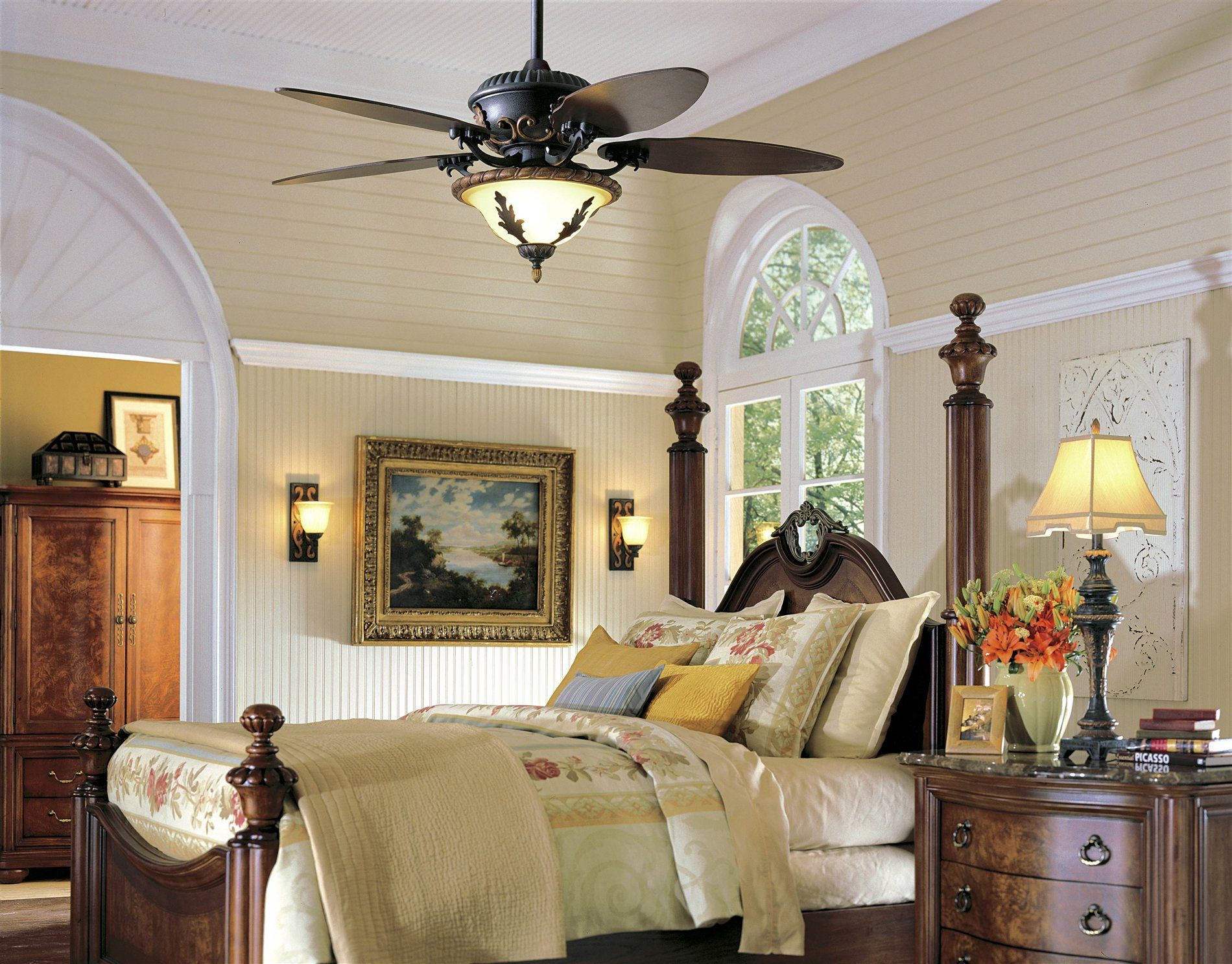 Beautiful Ceiling Fans with Lights for classic bedroom
