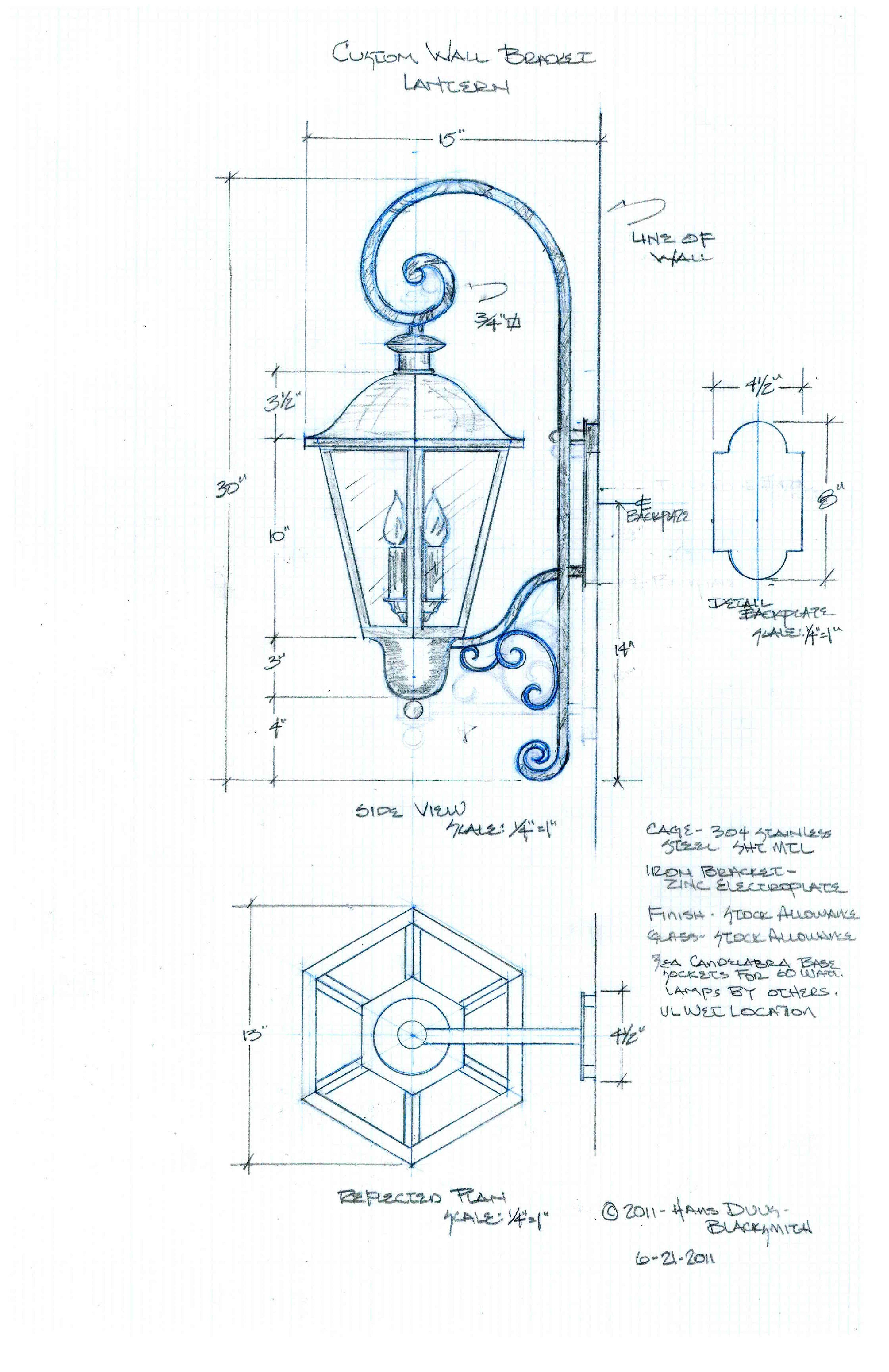 Custom Exterior Wall Mount Lantern 155 Drawing Exterior Light