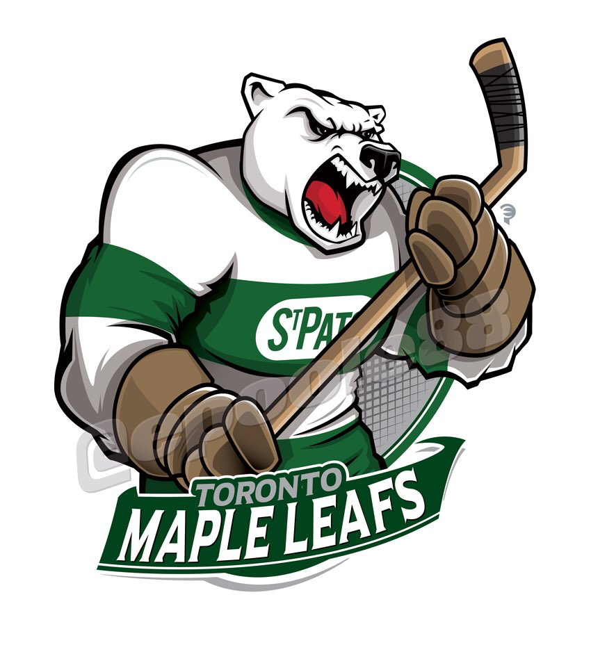A polar bear wearing the Toronto St. Patricks during the NHL's early years.