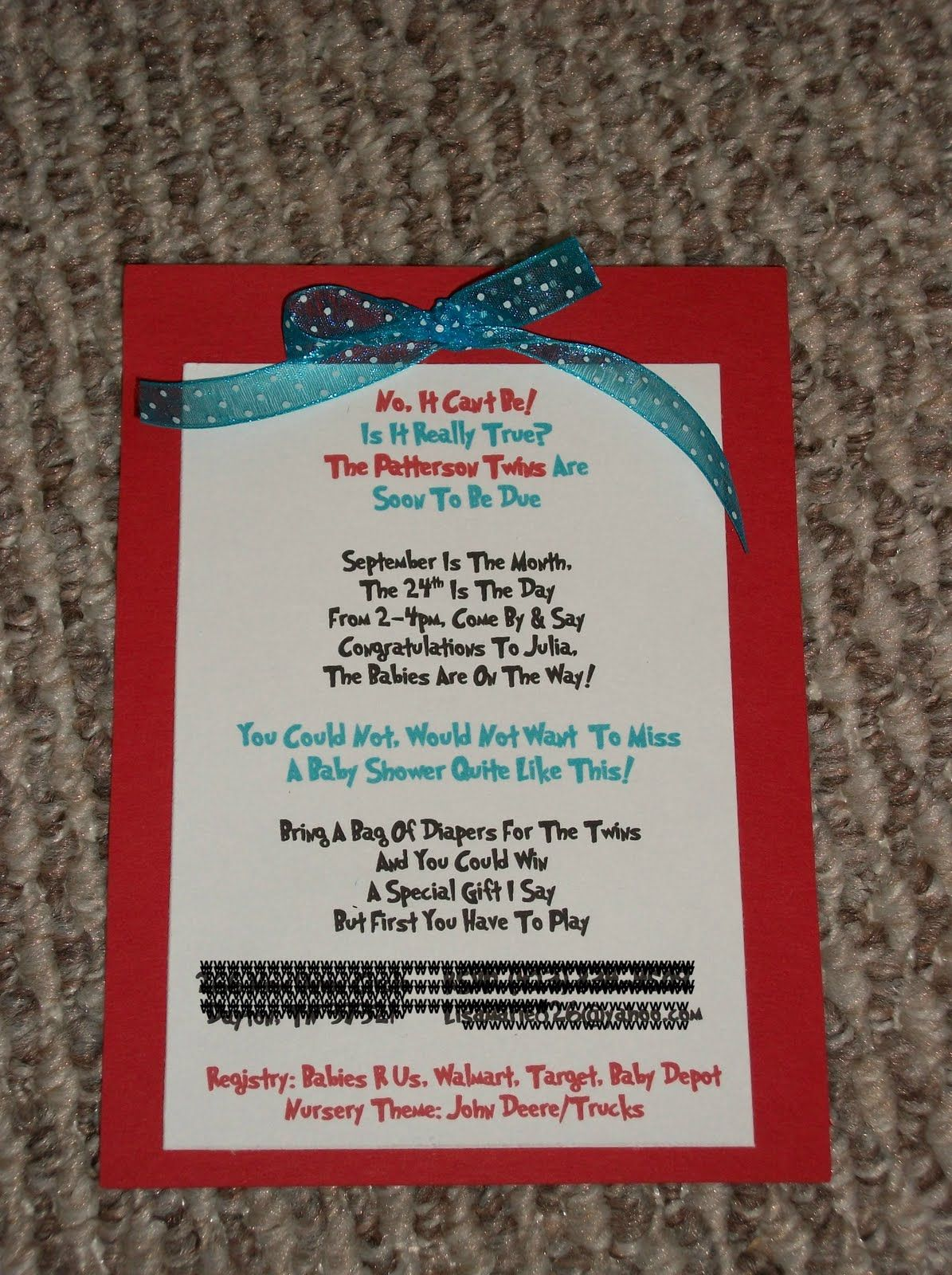 Always Homemade: Thing1 and Thing 2 Baby Shower Invites | Twin baby ...