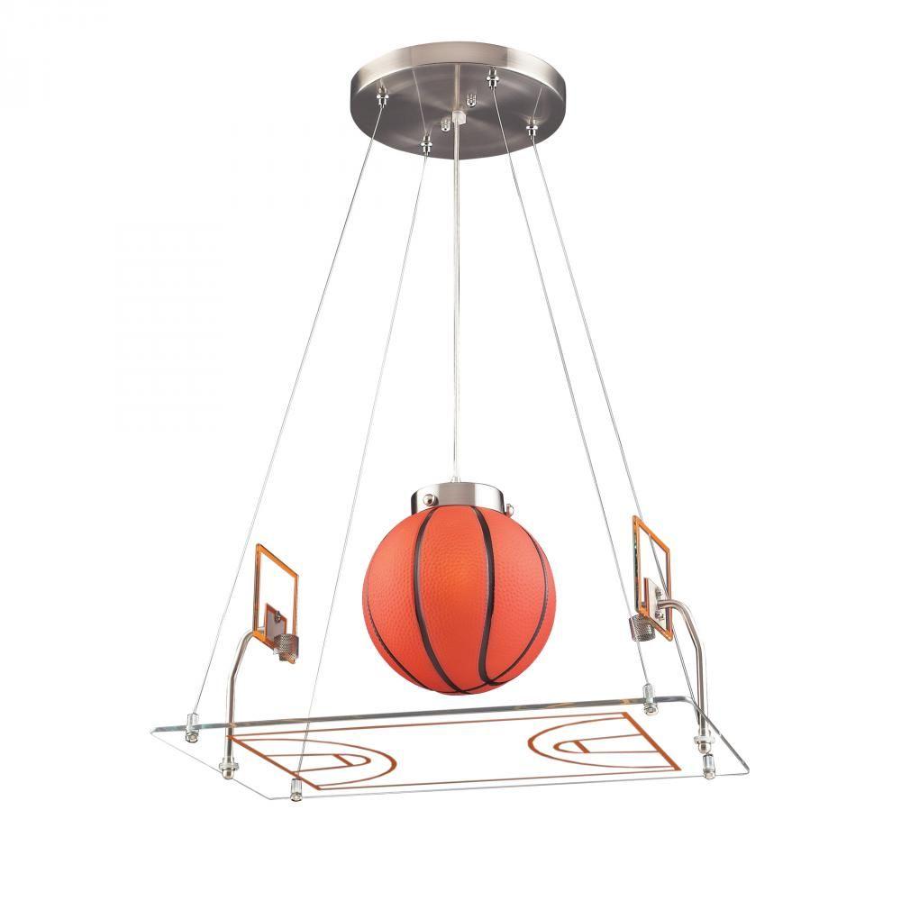 1 Light Basketball Court Pendant In Satin Nickel Williams Lighting Galleries Elk Lighting Kids Ceiling Lights Ceiling Lights