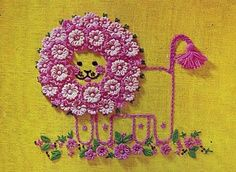 Lion's mane is made with pink loom flowers...so cute!
