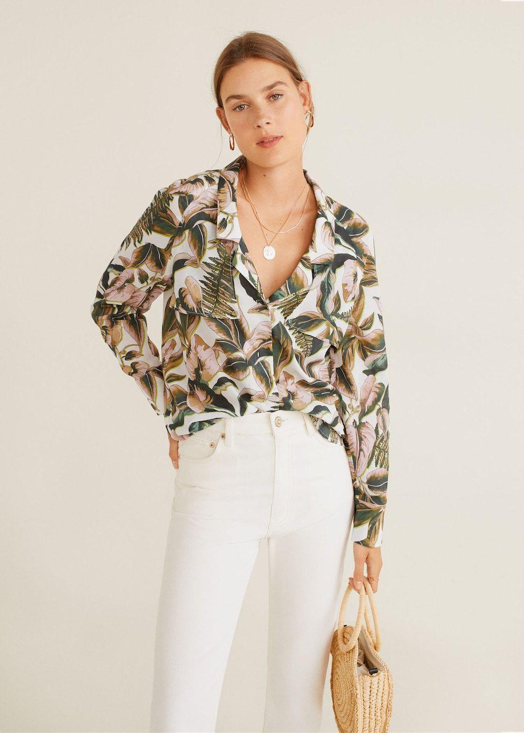 Blusa estampado tropical Camisas de Mujer | Mango España