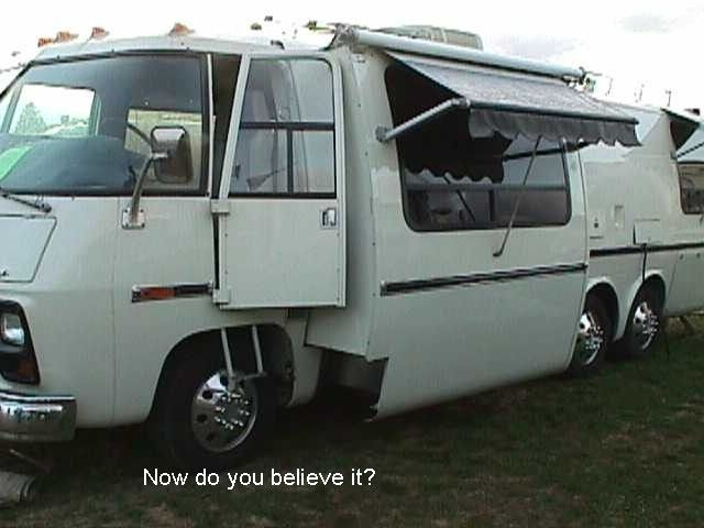 Gmc With A Custom Slide Out And Driver S Door Built By Manny Trovao Gmc Motorhome Vintage Motorhome Motorhome Travels