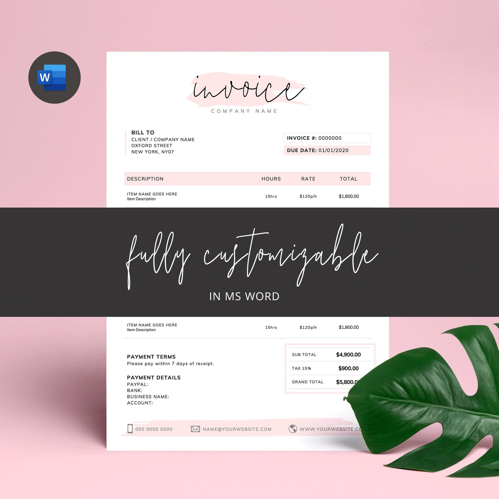Invoice Template Word Printable Invoice Custom Order Forms Etsy Photography Invoice Template Invoice Template Word Printable Invoice