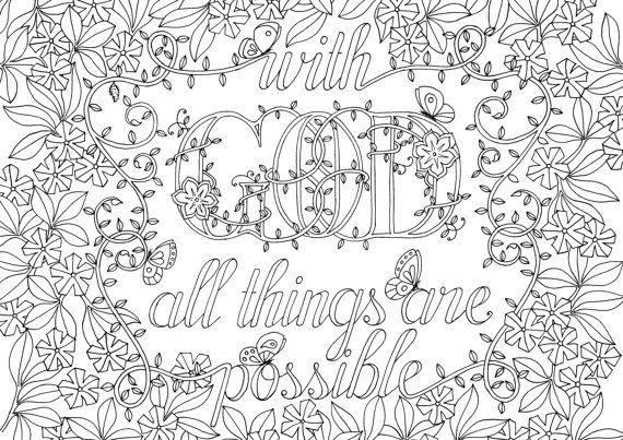 Adult colouring page With God
