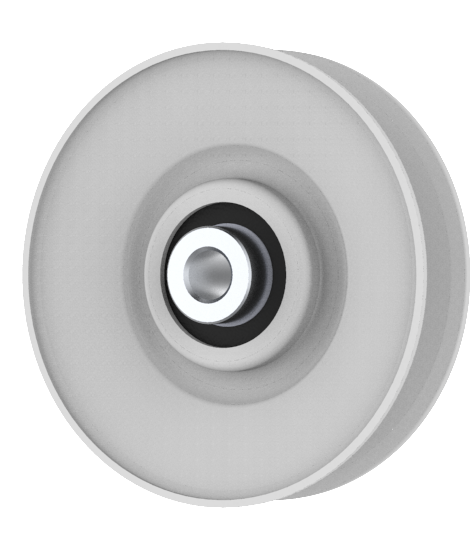 VGroove Idler Pulley 3.5'' Dia. 3/8'' Bore Steel