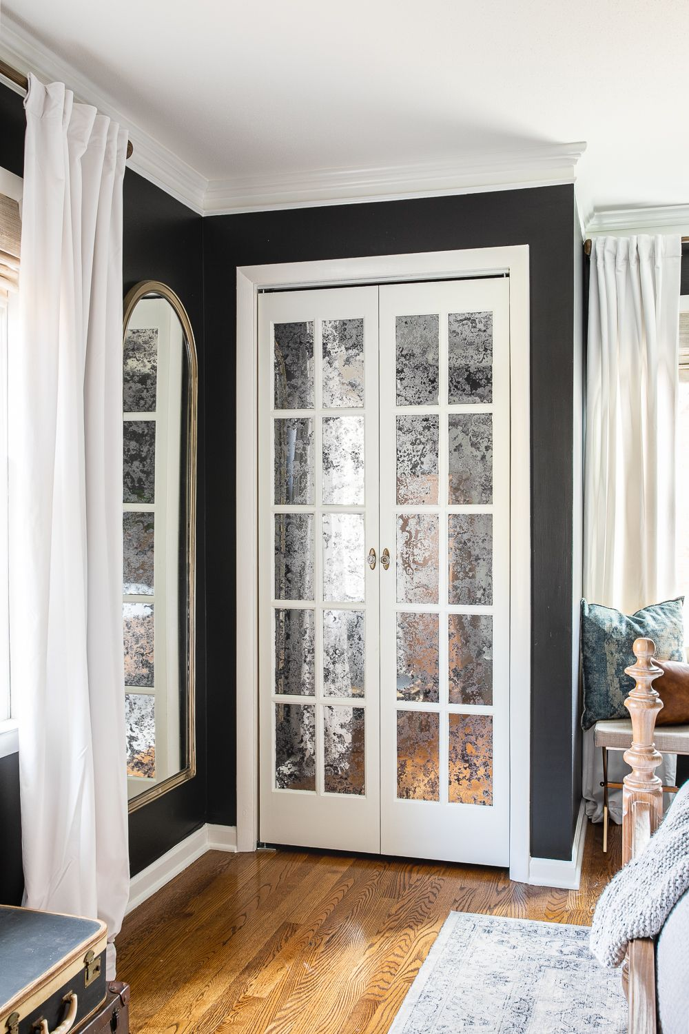Master Bedroom Update Mirrored French Closet Doors (With