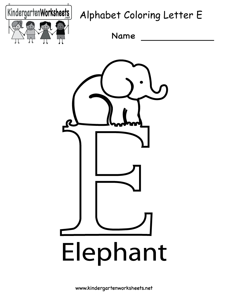 Kindergarten Letter E Coloring Worksheet Printable | Worksheets ...