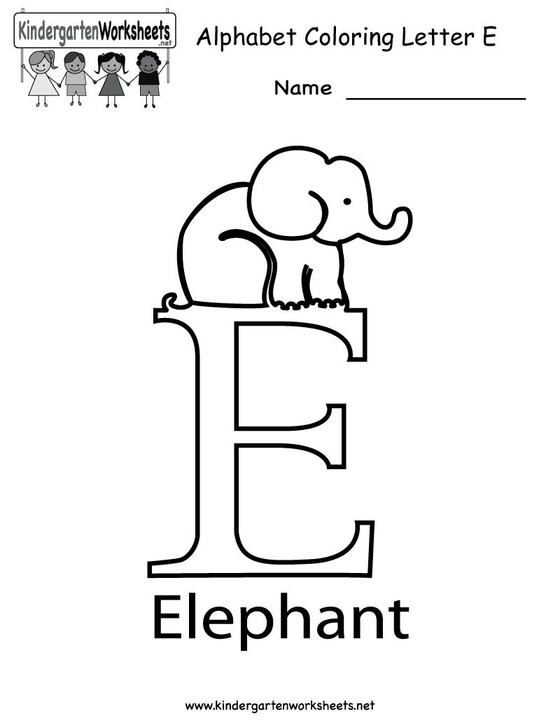 Kindergarten Letter E Coloring Worksheet Printable