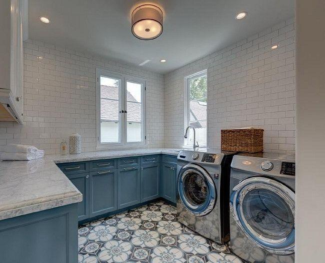Laundry Room Patterned Floor Tiles Laundryroomfloor Patternedfloor Patternedtiles Blue Laundry Rooms Laundry Room Design Laundry Room Flooring