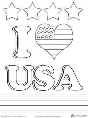I Love USA Coloring Page Drawing
