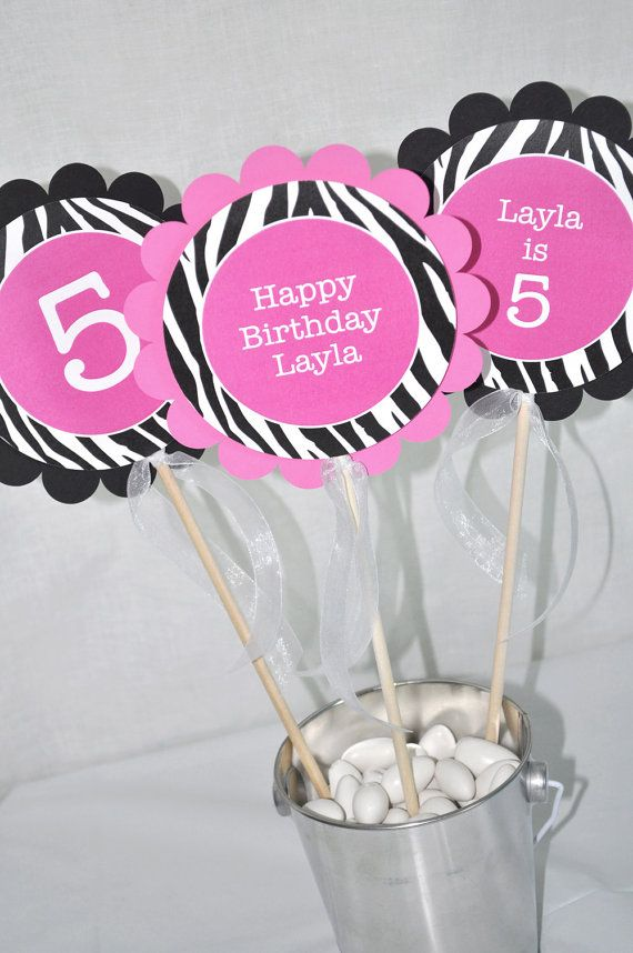 3 Girls Zebra Stripe Birthday Centerpiece by sosweetpartyshop