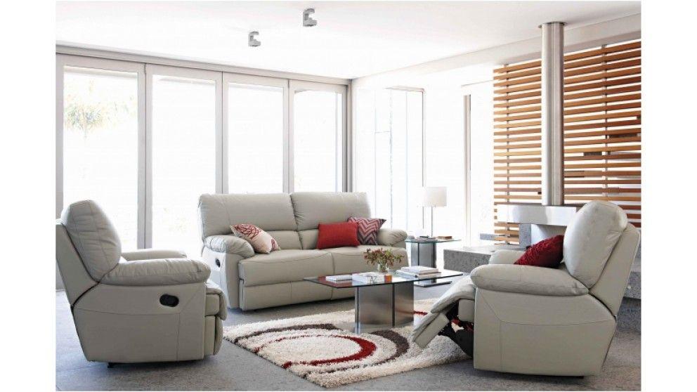 HN - Delle 3 Piece Leather Recliner Lounge Suite | Lounge suite ...