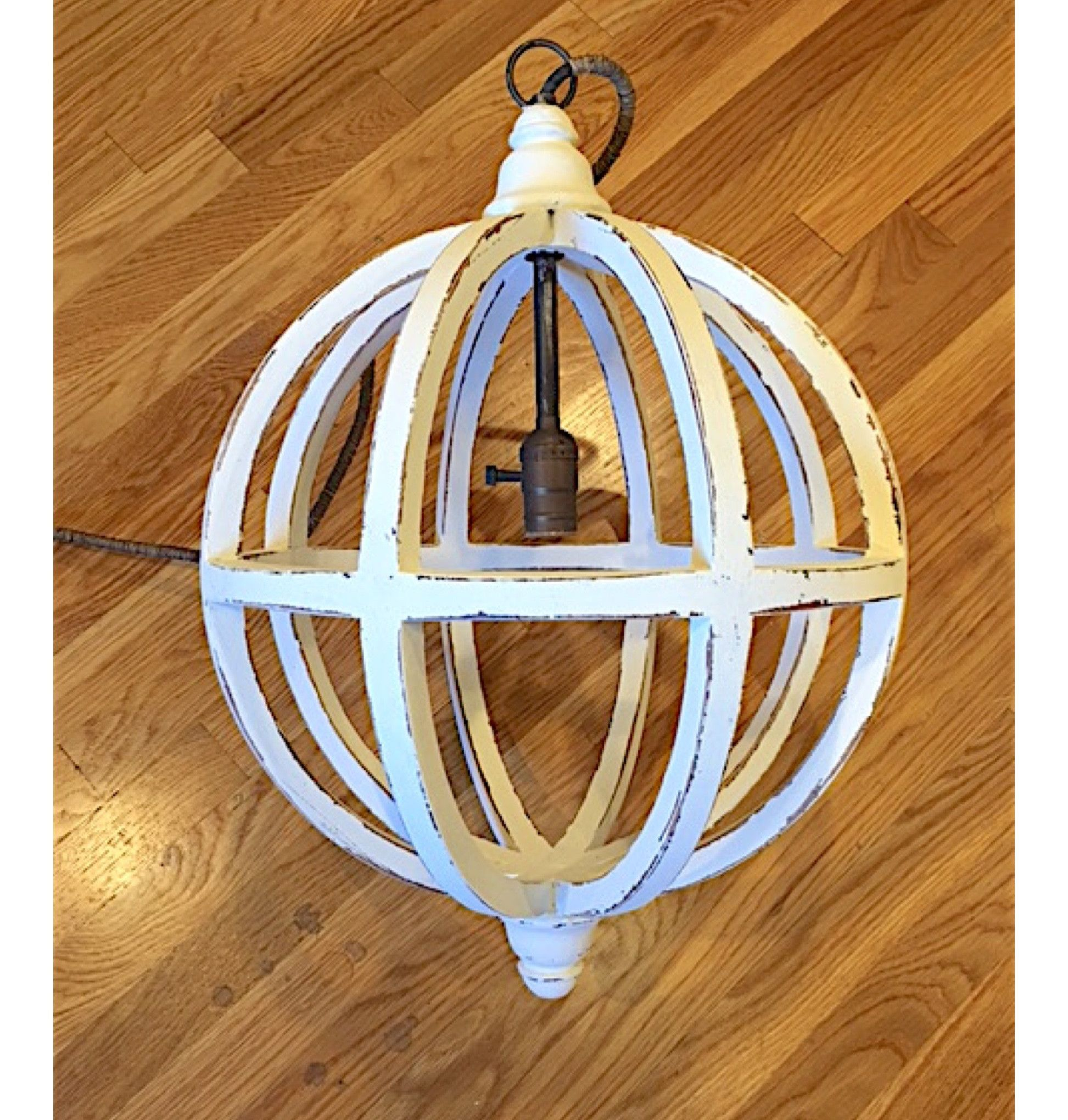 Medium White Wood Orb Chandelier Pendant Products