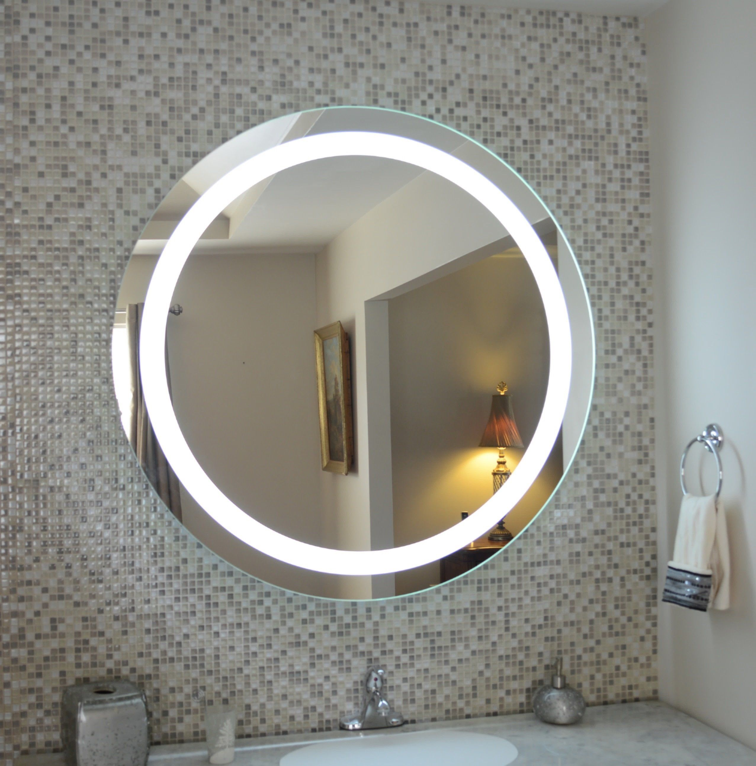 Front Lighted Led Bathroom Vanity Mirror 40 Wide X 40 Tall Round Wall Mounted Lighted Vanity Mirror Bathroom Mirror Mirror