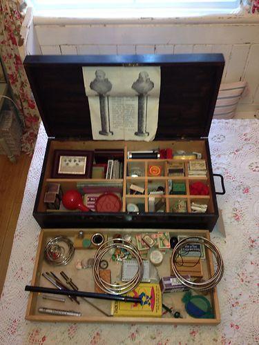 Antique Vintage Magicians Trunk Case Full Of Old Tricks