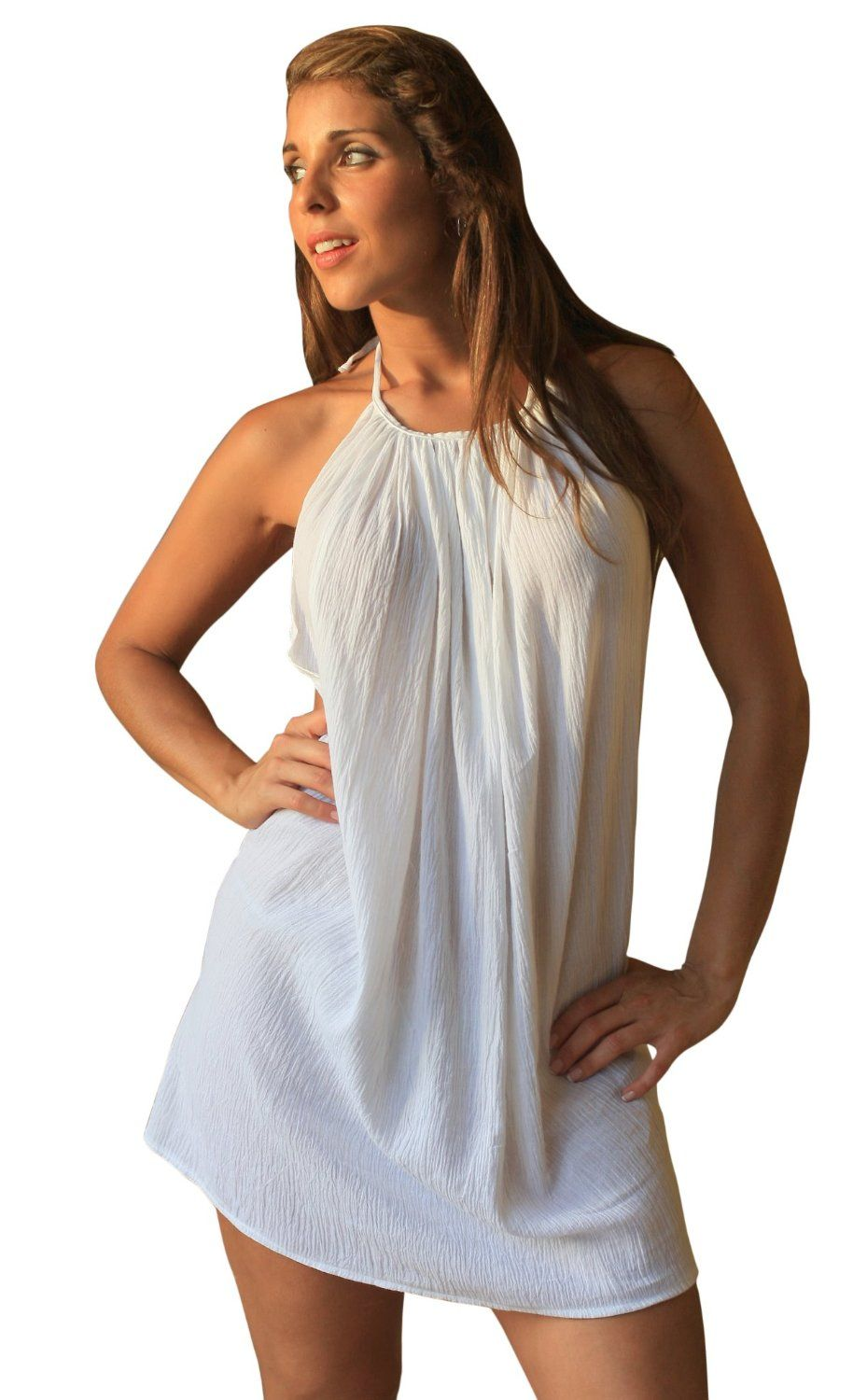 Ujena White Gauze Backless On The Beach Cover Up Swimwear Beach