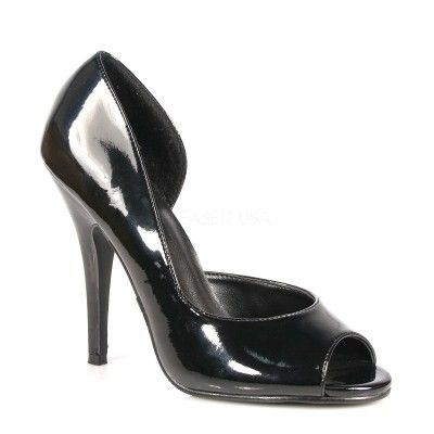 Seduce 212 Black Patent High Heeled Peep Toe Court Shoes | Peep ...