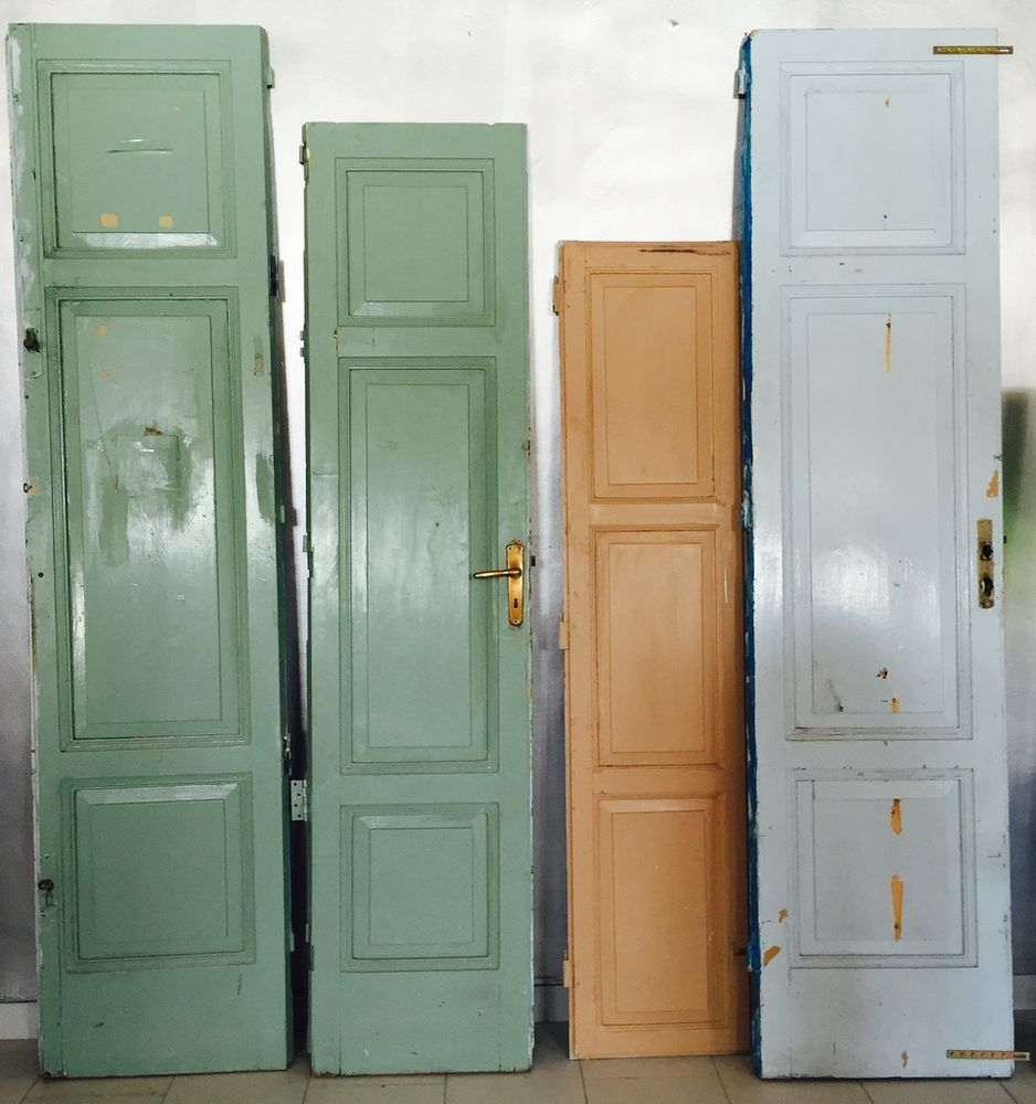 Vecchie Porte Scuola Enormi Legno Massello Colorate Diverse Dimensioni  Vintage