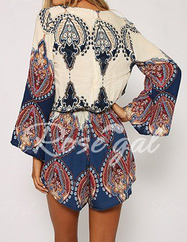 6da4d81805f Sexy Plunging Neck Printed Long Sleeve Romper For Women Jumpsuits   Rompers