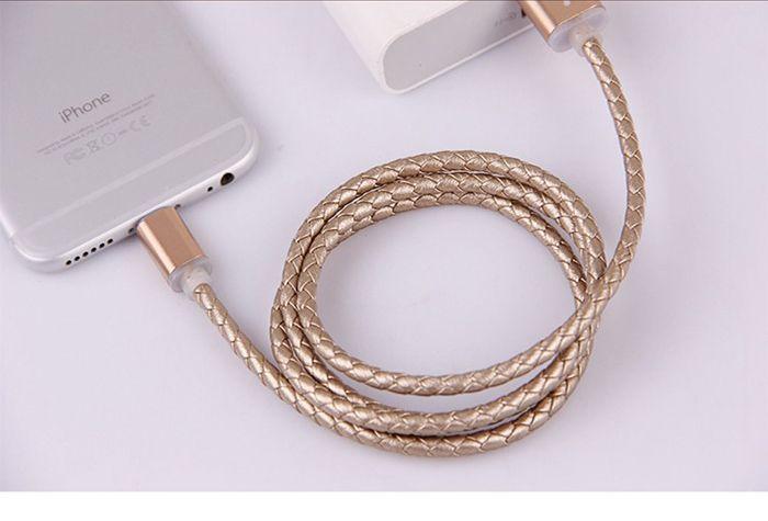 Echte Leder Beidseitiges (zweiseitiges) Micro USB Datenkabel aus Leder für iPhone