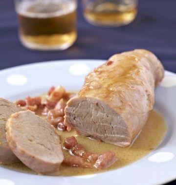 Filet mignon de porc à la bière et aux lardons