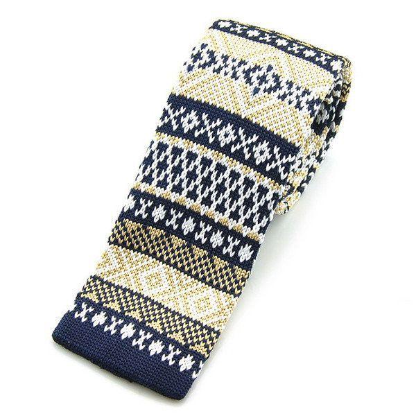 Korean Version Knitted Male Leisure Ties Snowflake Plaids Slim Skinny Neckties