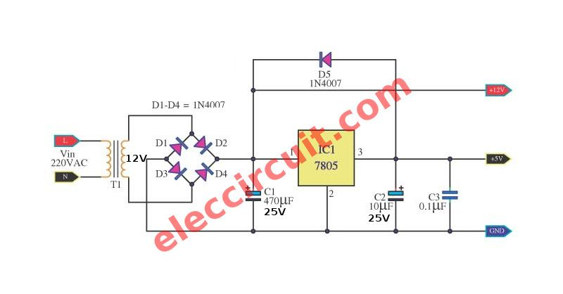 Many Ideas Of 12v And 5v Dual Power Supply Circuit Diagram At 3a Max Power Supply Circuit Electrical Projects Circuit Diagram