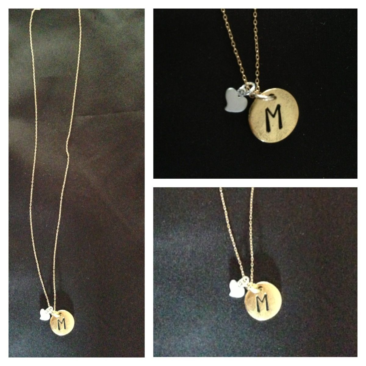 Etsy necklace m love heart cute