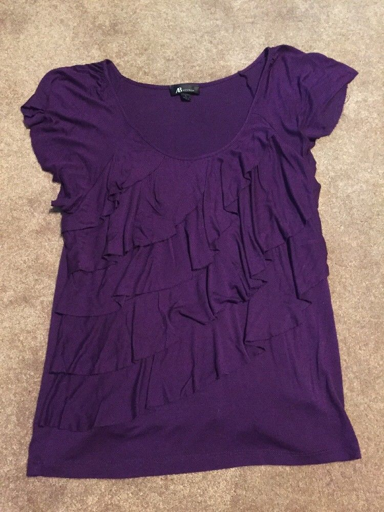 8f3425296b5 Women s Apt. 9 Purple Ruffle Short Sleeve Shirt Top Size Large Sexy Scoop  Neck  fashion  clothing  shoes  accessories  womensclothing  tops (ebay  link)