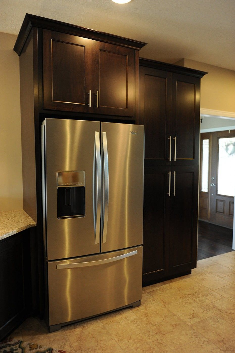 Built in refrigerator cabinet - Black Polished Oak Wood Tall Free Standing Pantry Cabinet Storage Built In Refrigerator Cupboard With Kitchen