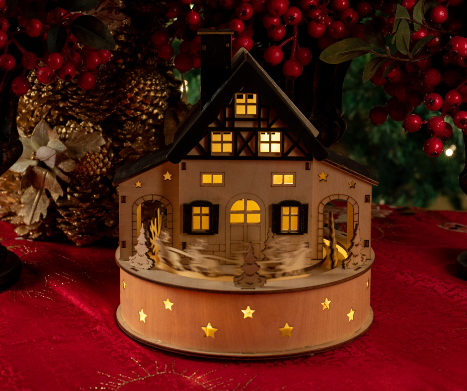 This Lovely Little Wooden House Lights Up To Add A Wow Factor It Looks Great At Christmas But Also All Year Christmas Lights Wooden Table Top Unique Houses