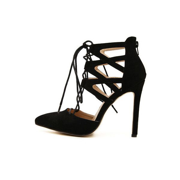 SheIn(sheinside) Black High Heel Bandage Point Toe Pumps (48 CAD) ❤ liked on Polyvore featuring shoes, pumps, sapatos, high heels stilettos, stiletto pumps, black pointed-toe pumps, black stilettos and dorsay pump