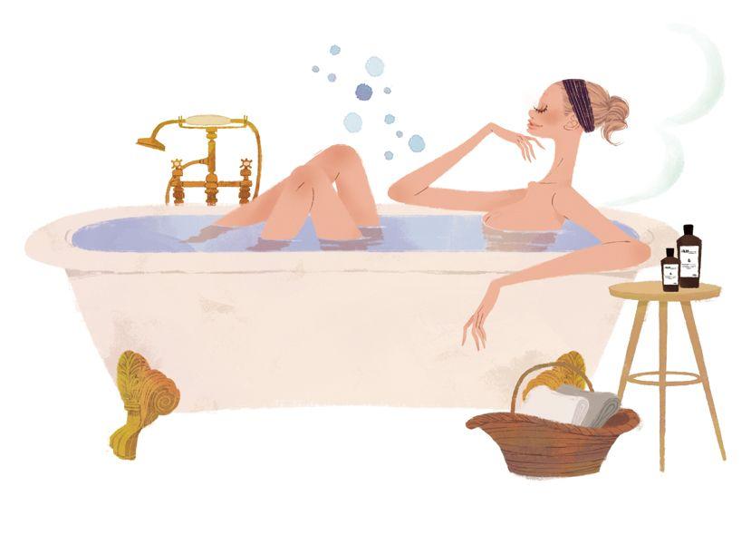 集英社 Maquia 雑誌 雑誌イラストカット カットイラスト 女性 美容 マキア 美容 お風呂 リラックス バスタブ イラスト 吉岡