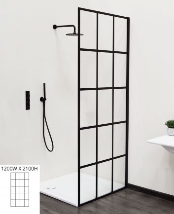 Grid 1200W x 2100H fixed shower panel satin black/clear ...