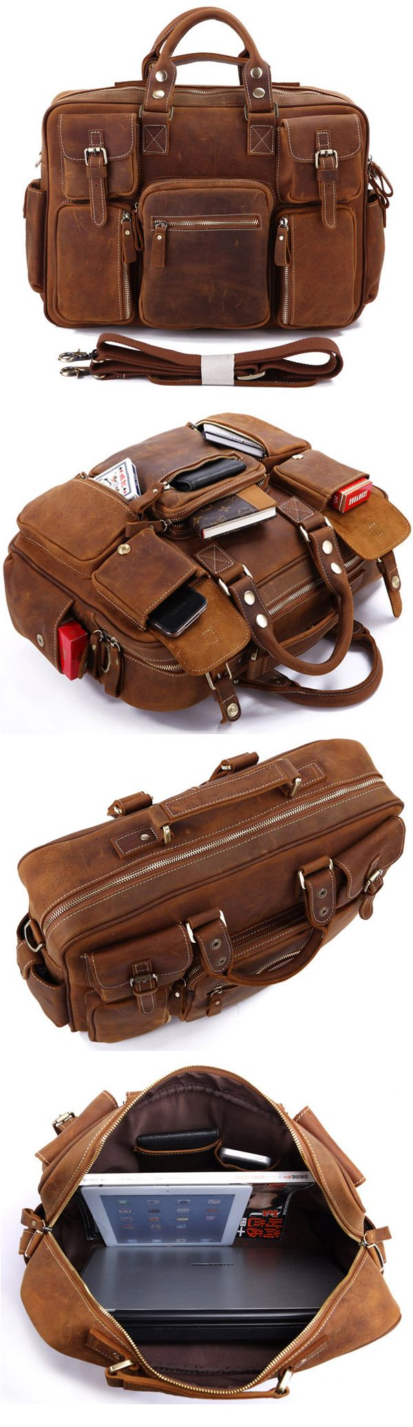 be3884e98cbb Rare Crazy Horse Leather Men s Briefcase Laptop Bag Dispatch Shoulder Huge  Duffle in Red Brown .