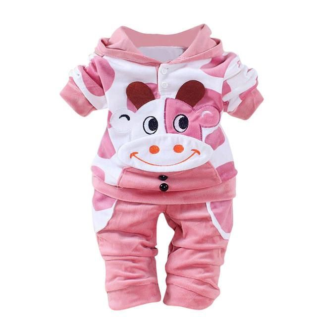 660cd42bb 2017 Newborn Baby Girls Boys Cartoon Cow Warm Outfits Clothes Velvet ...