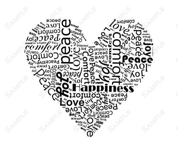 Word Art Calligram Heart Print