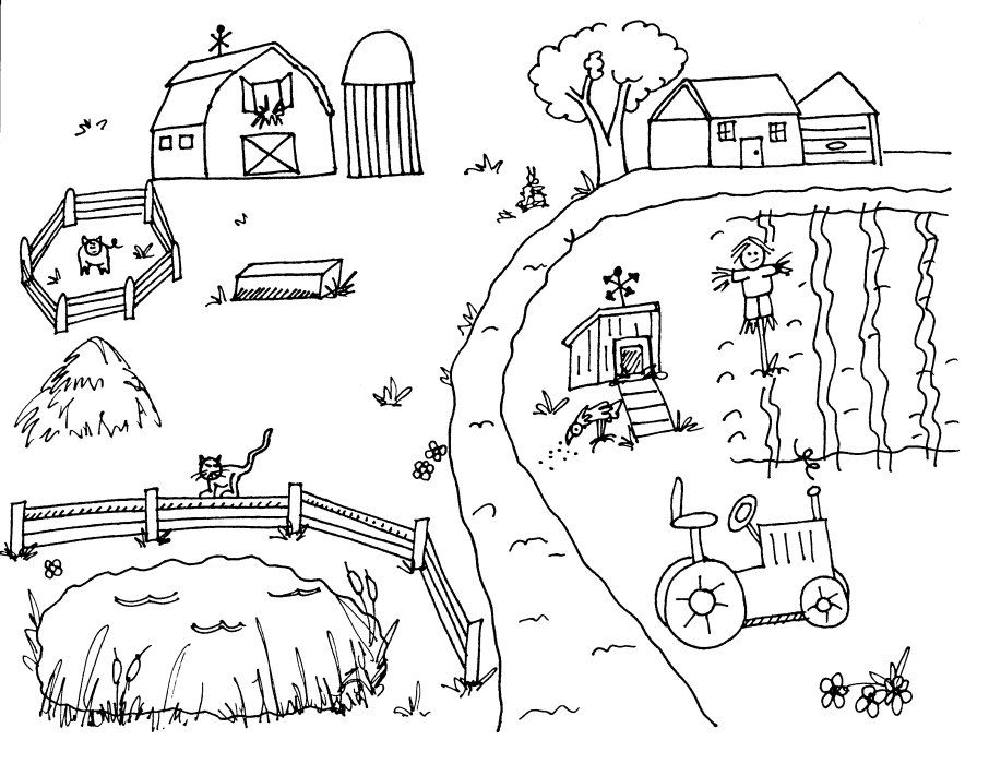 Farm Scene Countryside Coloring Sheets Farm Coloring Pages